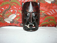 Scary Wood Carved Japanese Demon Mask