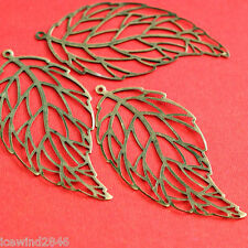 10pcs 60mm Antique Bronze Leaf Filigree Pendants R0238-AB