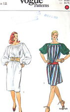 VOGUE Womens dress pattern 80s bateau neck billow sleeve sz 12 B34 V8325