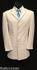 42 R Andrew Fezza Mens Ivory/Off-White 5 Button Frock Long Tuxedo Coat Gangster
