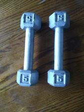 New listing Pair/set 2 x 5 lb. Dumbbell Hex Cast Iron Weights Exercise Fitness Used 10 Total
