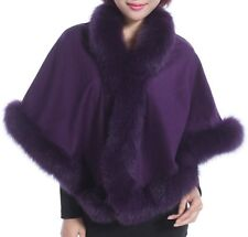 Cashmere Shawl Cape Wrap Scarf with Fox Fur Trim Purple New Real