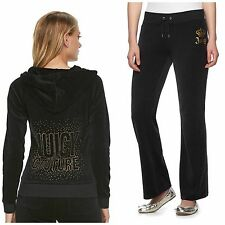 NWT Juicy Couture Women's Velour Tracksuit Black Embellished Bootcut pants  L