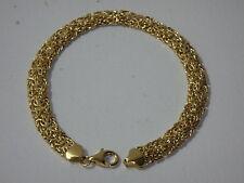 14K YELLOW GOLD DOMED MIRROR BYZANTINE BRACELET NEW 6 3/4 INCH 5.2 GRAMS