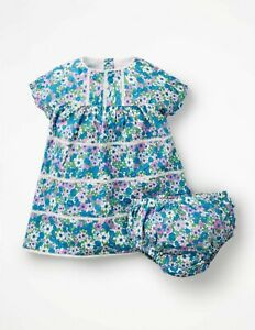 Baby Boden Dress Floral Bnwt 0-3 3-6 12-18 Tiered Summer with Pants Nostalgic