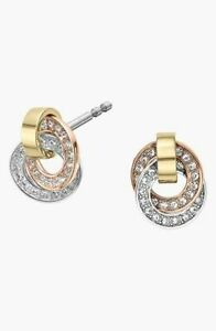 Michael Kors Tri-Color Statement Brilliance Drop Pave Stud Earrings NEW