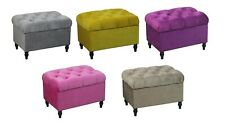 Velvet Ottoman Chair Storage Stool Sear Footrest Footstool With Rustic Look Feet