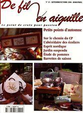 De fil en aiguille N°15 point croix Abécédaire automne Véronique Enginger