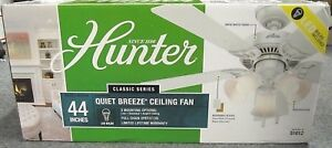 """NEW Hunter 51012 44"""" Classic Series Quiet Breeze Ceiling Fan - Snow White Finish"""