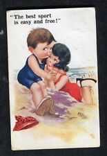Posted 1923 Comic/ Cartoon Boy & Girl on Beach: The Best Sport is Easy & Free