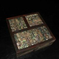 Chinese Wood hand-inlaid shell Jewelry Box 3 in1