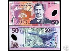 NEW ZEALAND 50 DOLLARS P188 1999 *AA* PREFIX KOKAKO POLYMER UNC MONEY BANK NOTE