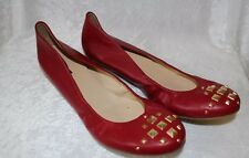 J CREW CECE PYRAMID SILVER STUDDED TOE LEATHER BALLET FLATS RED 9.5 $148 03519