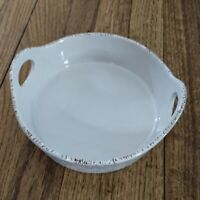 Blue Jean Chef Casserole Baking Dish Pan Stoneware White Textured Speckled 7.5""