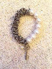 Miss selfridge pearl and gold key bracelet