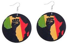 Round Black Wooden Rasta Africa Map Drop Earrings. Power To The People
