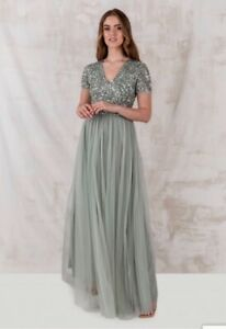 Maya Green Lily V Neckline Embellished Maxi Dress (Sold via ASOS, Next, Maya)
