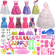 85 Pcs Barbie Doll Clothes Accessories Huge Lot Party Gown Outfits Girl Gift New