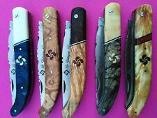 Couteau Basque luxe manche bi-matière marqueterie made in Thiers pliant régional