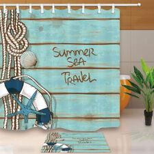 Nautical Equipment On Blue Wooden Bathroom ShowerCurtainSet Fabric&12 Hooks