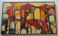 PFUNDT PAINTING ABSTRACT CUBISM CUBIST 1960'S CITY URBAN EXPRESSIONISM MODERNISM