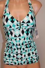 NWT Calvin Klein Swimsuit Bikini Tankini Top Sz XS UPF 50+ koldscpe Ocn Halter