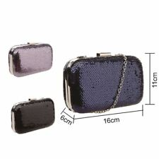 Sequin Women Evening Clutch Hardcase Boxy Bag Long Strap Prom Party Holyday Lady