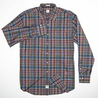 PETER MILLAR Men's Large Button Front Shirt Brown Blue Plaid 100% Cotton
