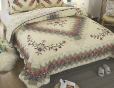 VICTORIAN TREASURES 1pc Cal King QUILT : COTTON IVORY RED BLUE FLORAL COUNTRY