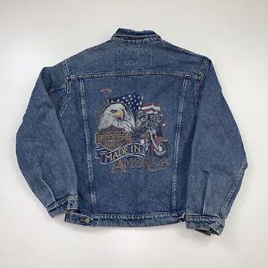 Vintage 90s Harley Davidson Denim Jean Jacket Size Medium Blue Eagle USA