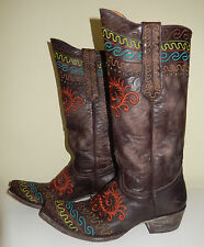 $684 Old Gringo Zarape Chocolate Cowboy Boots Distressed Leather 8 Worn Once