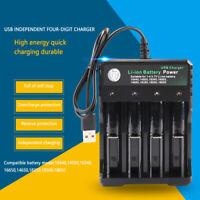 4 fach USB Ladegerät Universal wiederaufladbare 4.2V Li-Ion für 18650 Batterien
