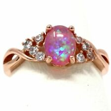 Gorgeous Oval Pink Opal Ring Women Wedding Jewelry Rose Gold Plated Size 6 to 9