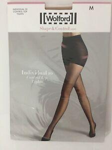 "Wolford Medium Cosmetic ""Individual 10 Control Top"" Sheer Tights Pantyhose"