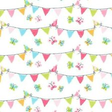Michael Miller Pennant Party Brushed Cotton Flannel fabric Bunting Butterflies