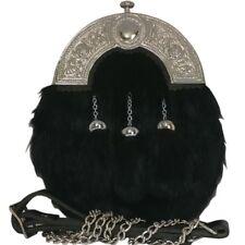 Full Dress Silver Cantle BLACK RABBIT Long Fur SPORRAN and Belt