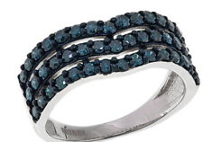 1.0ctw Blue Diamond 3-Row Chevron Sterling Silver Ring Sz 10 $594