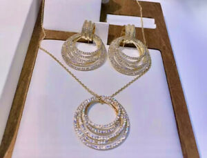 18K Gold GP Hoop Pendant Necklace Earrings Set Simulated Diamond Pave Stone