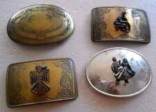 Men's VTG Engraved Figural Belt Buckles Lot 4 Thunderbird Cowboy Square Dancing
