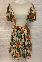 Vintage Handmade 60s Dress Sz M Short Sleeve Midi Swing Dress Cream Floral A9