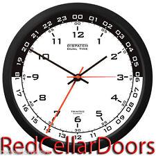 "TRINTEC ZULU CLOCK 12 & 24 HOUR DUAL TIME UTC MILITARY RADIO DSP3 BLACK MOON 10"""