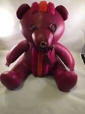 "Nwt Coach Collectible Pink Rocky 15"" Leather Teddy Bear 56845 Decoration!"