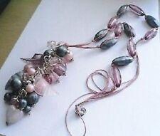 Grand collier pendentif résine perles déco couleur argent pampilles * 3865