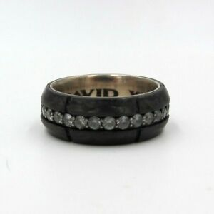 David Yurman Forged Carbon Gray Sapphire Band Ring