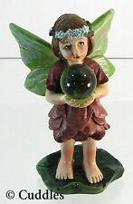 Gazing Ball Garden Girl Fairy Brunette Figurine Ganz Green Wings Mini Flower New