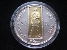 """Mds Andorra 20 Dinar 1993"""" Joan D. M Bisbe D'Urgell-Ecu """",Plata + Oro Inlay #100"""