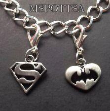Superman The Batman Silver Charm Bracelet Charms Clips Ons Purse Zipper Pulls