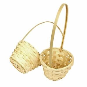Tall Handle Small Pot Mum Baskets! Wedding Flower Girl Wicker Pot Mum