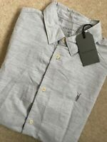 "ALL SAINTS LIGHT GREY ""AVILA"" SHORT SLEEVE LOGO SHIRT TOP - XS S M L - NEW TAGS"
