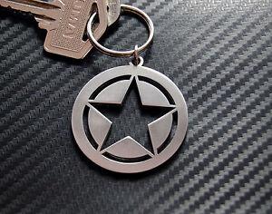 ARMY STAR U.S Military Rank Marine Core Willys BJ Keyring Keychain Key Fob